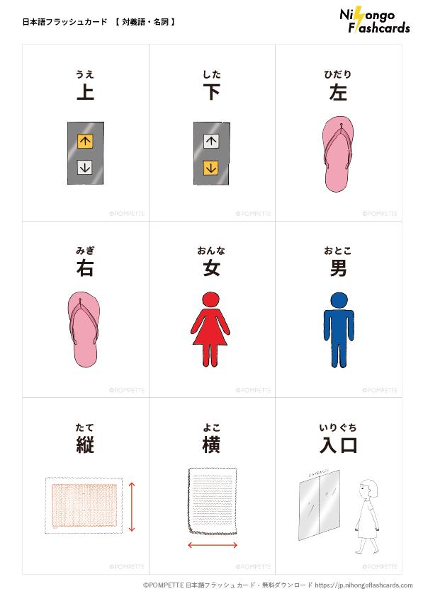 対義語 名詞 1 日本語フラッシュカード