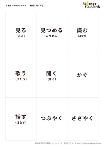 日本語フラッシュカード ことば 動詞 顔 頭