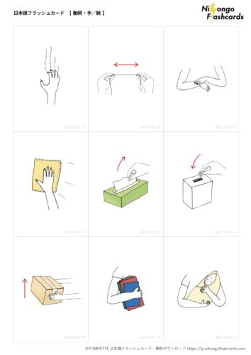 日本語フラッシュカード イラスト 絵カード 動詞 手 腕