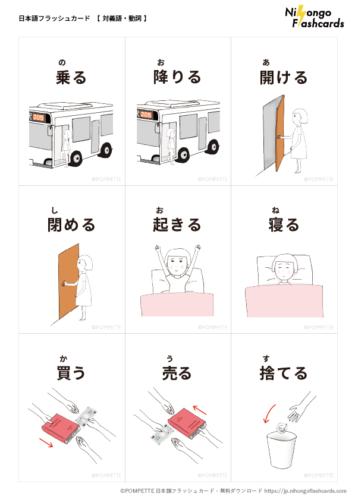 日本語フラッシュカード イラスト 絵カード 対義語 動詞