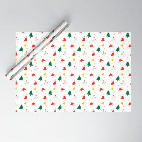 クリスマス ラッピングペーパー ホワイト